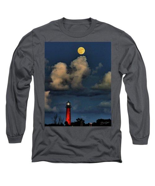 Moon Over Lighthouse Long Sleeve T-Shirt