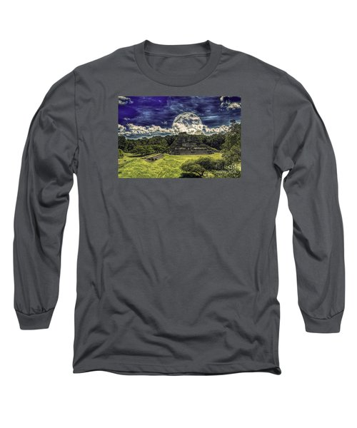 Moon Over Mayan Temple Two Long Sleeve T-Shirt by Ken Frischkorn