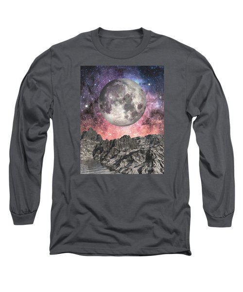 Long Sleeve T-Shirt featuring the digital art Moon Over Mountain Lake by Phil Perkins