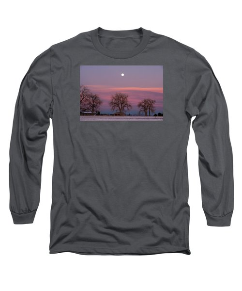 Moon Over Pink Llouds Long Sleeve T-Shirt by Monte Stevens