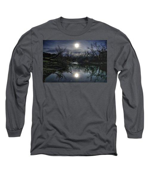 Moon Over Sand Creek Long Sleeve T-Shirt by Fiskr Larsen