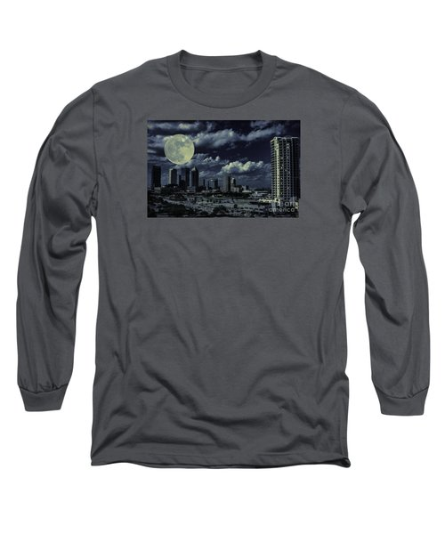 Moon Over Tampa Two Long Sleeve T-Shirt by Ken Frischkorn