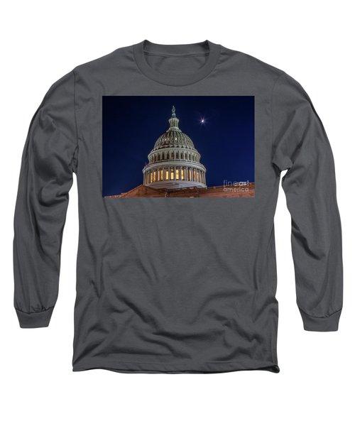 Moon Over The Washington Capitol Building Long Sleeve T-Shirt