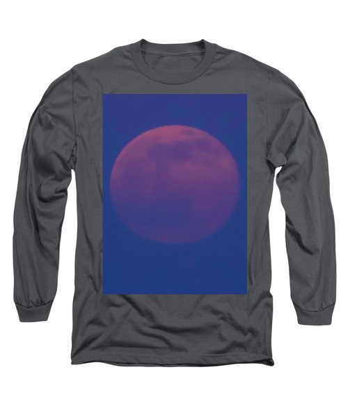 Moon Rise Blue Long Sleeve T-Shirt by Michael Nowotny