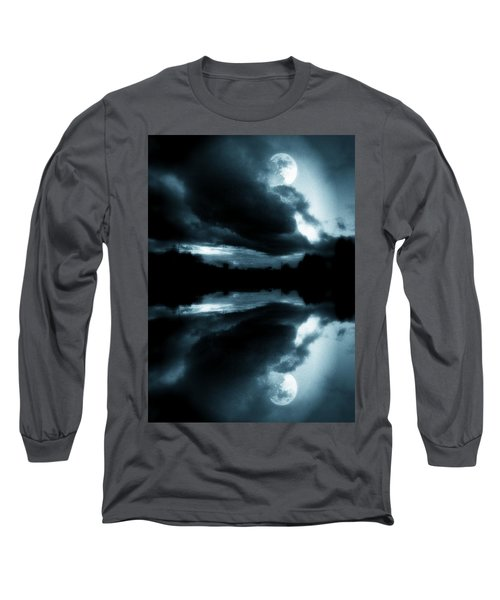 Blue Long Sleeve T-Shirt featuring the photograph Moon Rising by Aaron Berg