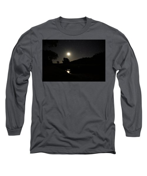 Long Sleeve T-Shirt featuring the photograph Moon Set Over Palm Valley 2 by Paul Svensen