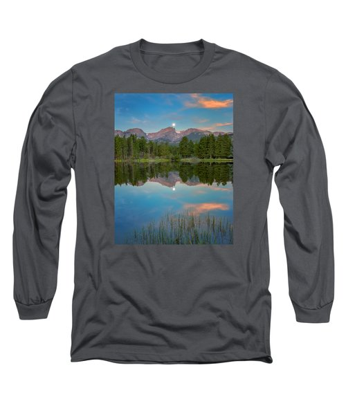 Full Moon Set Over Sprague Lake Long Sleeve T-Shirt by John Vose