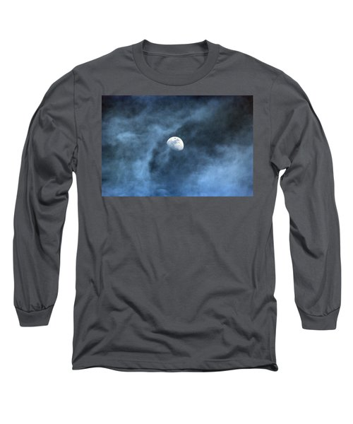 Moon Smoke Long Sleeve T-Shirt by David Stasiak