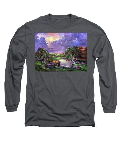 Moonlight In The Woods Long Sleeve T-Shirt by Randy Burns