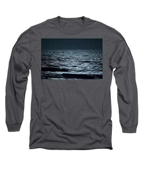 Moonlight Waves Long Sleeve T-Shirt by Nancy Landry