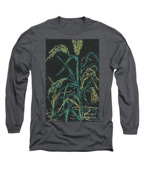 Long Sleeve T-Shirt featuring the mixed media Moonlight Wheat by Vicki  Housel