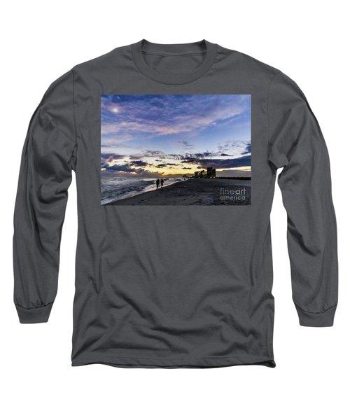 Moonlit Beach Sunset Seascape 0272d Long Sleeve T-Shirt