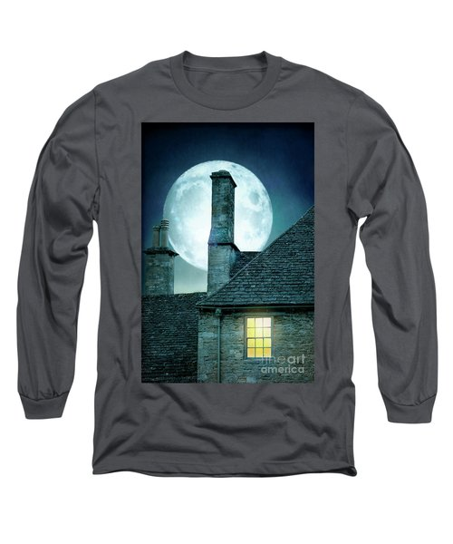 Moonlit Rooftops And Window Light  Long Sleeve T-Shirt by Lee Avison