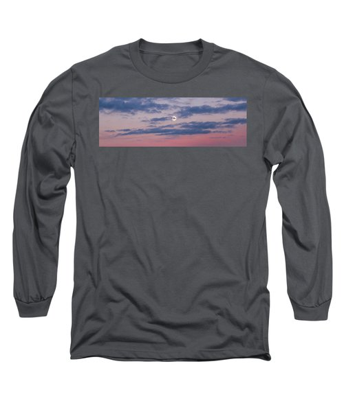 Moonrise In Pink Sky Long Sleeve T-Shirt