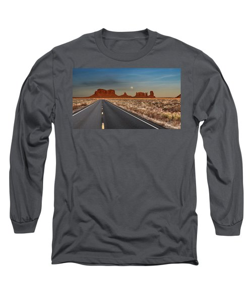 Moonrise Over Monument Valley Long Sleeve T-Shirt