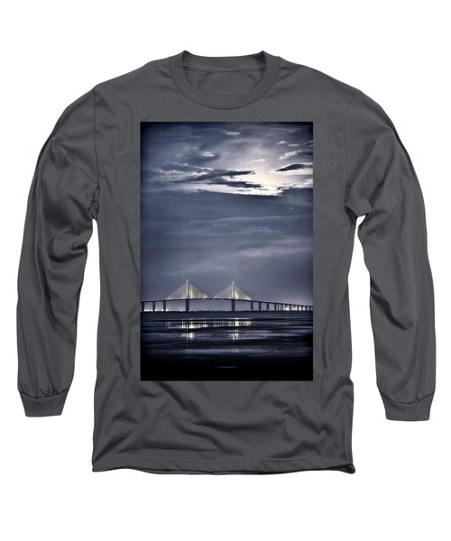 Moonrise Over Sunshine Skyway Bridge Long Sleeve T-Shirt
