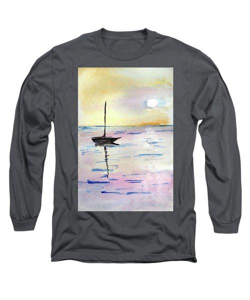 Moored Sailboat Long Sleeve T-Shirt by R Kyllo