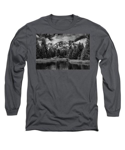 Moose At Schwabacher's Landing Long Sleeve T-Shirt