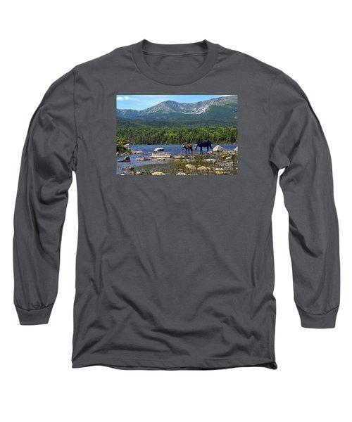 Moose Baxter State Park Maine 2 Long Sleeve T-Shirt by Glenn Gordon