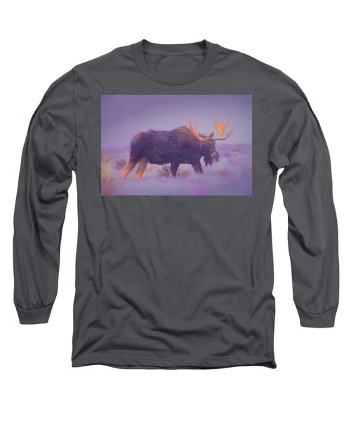 Moose In A Blizzard Long Sleeve T-Shirt