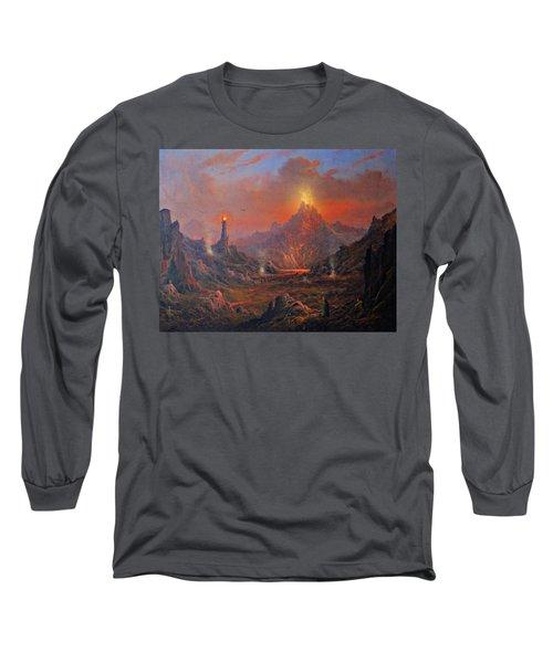 Mordor Land Of Shadow Long Sleeve T-Shirt by Joe Gilronan