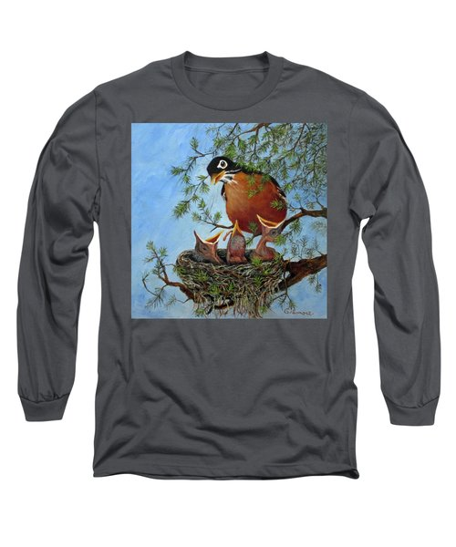 Long Sleeve T-Shirt featuring the painting More Food by Roseann Gilmore