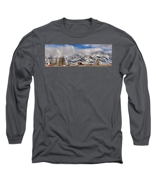 Long Sleeve T-Shirt featuring the photograph Mormon Row Early Winter Panorama by Adam Jewell