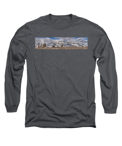 Long Sleeve T-Shirt featuring the photograph Mormon Row Extended Panorama by Adam Jewell