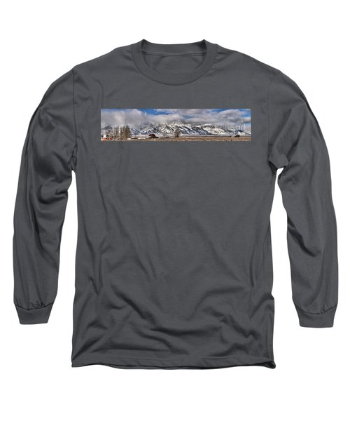Long Sleeve T-Shirt featuring the photograph Mormon Row Snowy Extended Panorama by Adam Jewell