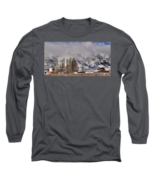 Long Sleeve T-Shirt featuring the photograph Mormon Row Winter Morning Panorama by Adam Jewell