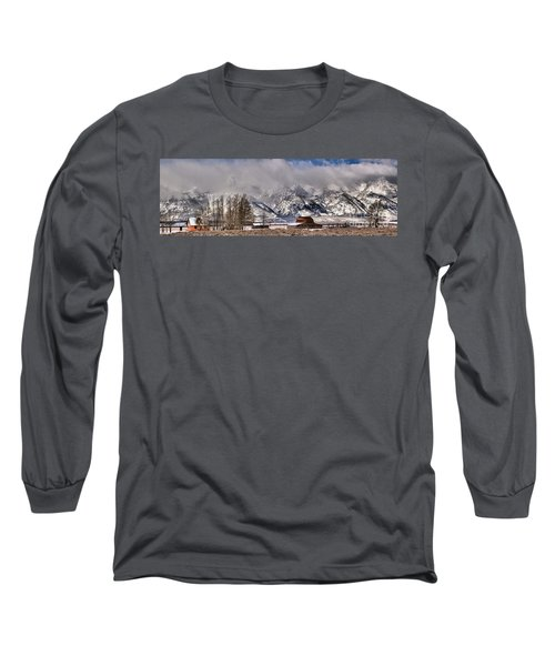 Long Sleeve T-Shirt featuring the photograph Mormon Row Winter Panorama by Adam Jewell