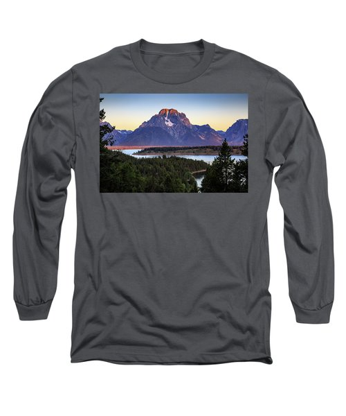 Morning At Mt. Moran Long Sleeve T-Shirt by David Chandler