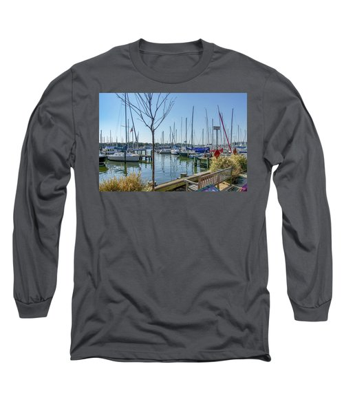 Long Sleeve T-Shirt featuring the photograph Morning At The Marina by Charles Kraus