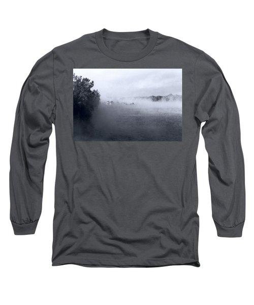 Long Sleeve T-Shirt featuring the photograph Morning Fog - Hudson River by John Schneider