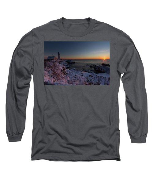 Morning Glow At Portland Headlight Long Sleeve T-Shirt