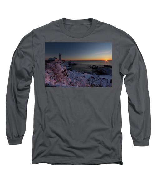 Morning Glow At Portland Headlight Long Sleeve T-Shirt