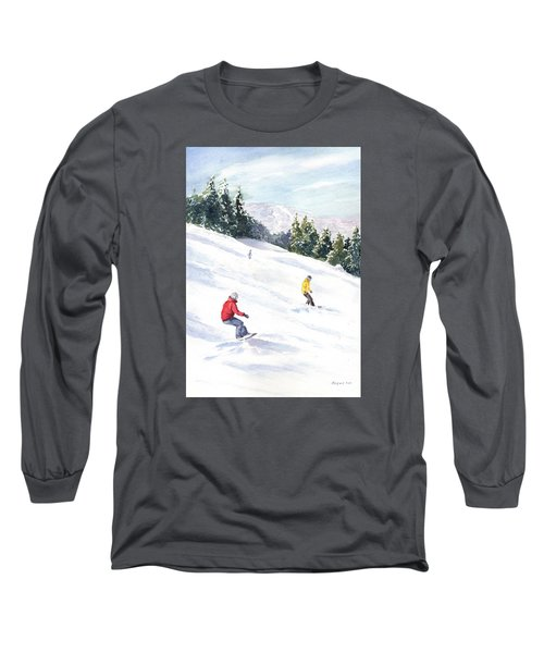 Long Sleeve T-Shirt featuring the painting Morning On The Mountain by Vikki Bouffard