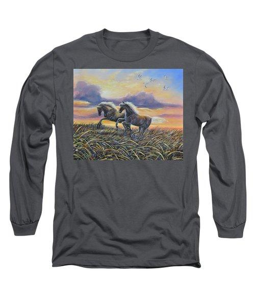 Morning Run Long Sleeve T-Shirt by Gail Butler