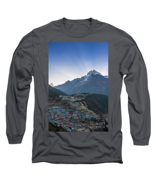Long Sleeve T-Shirt featuring the photograph Morning Sunrays Namche by Mike Reid