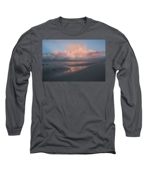 Long Sleeve T-Shirt featuring the photograph Morning Walk On The Beach by Kim Hojnacki