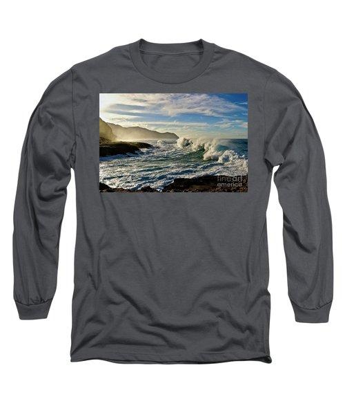 Morning Waves At Kaena Long Sleeve T-Shirt