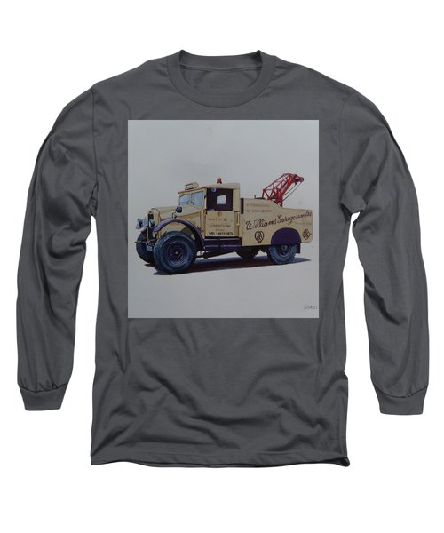Long Sleeve T-Shirt featuring the painting Morris Commercial Wrecker. by Mike Jeffries