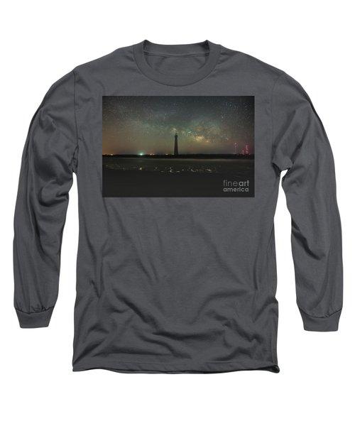 Morris Island Light House Milky Way Long Sleeve T-Shirt by Robert Loe