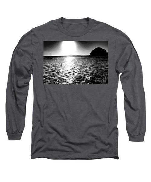 Morro Rock, Black And White Long Sleeve T-Shirt