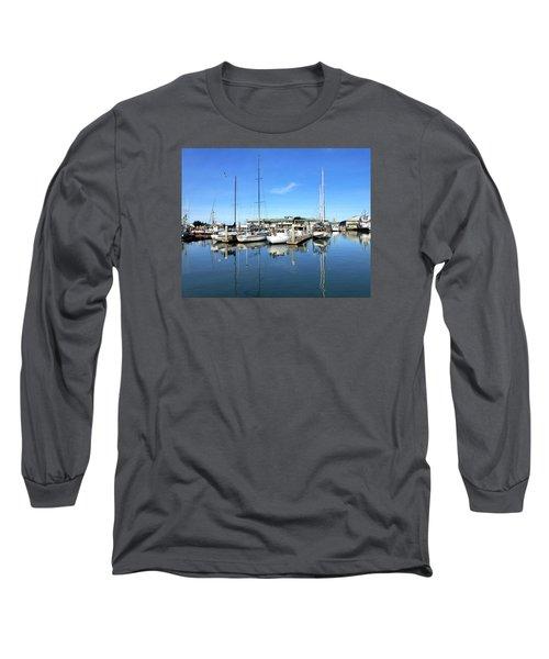 Moss Landing Harbor Long Sleeve T-Shirt by Amelia Racca