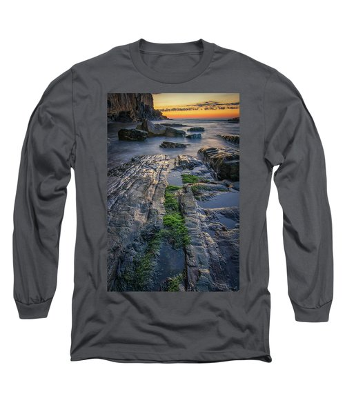 Mossy Rocks At Bald Head Cliff  Long Sleeve T-Shirt