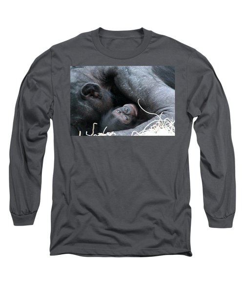 Mother Bonobo And Her Baby Long Sleeve T-Shirt by Laurel Talabere