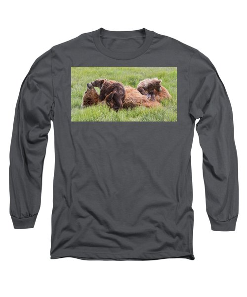 Mother Grizzly Suckling Twin Cubs Long Sleeve T-Shirt