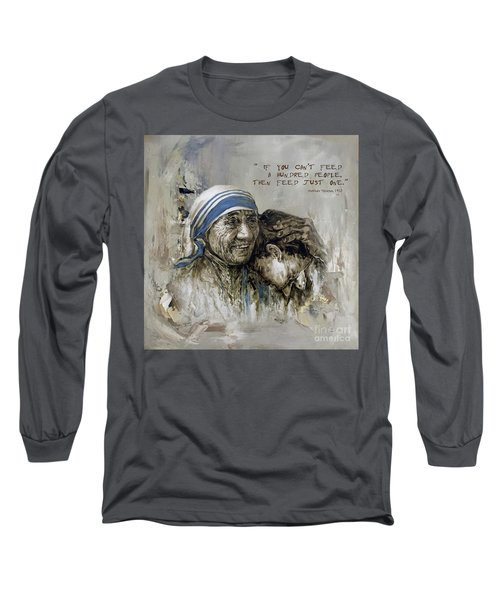Long Sleeve T-Shirt featuring the painting Mother Teresa Portrait  by Gull G