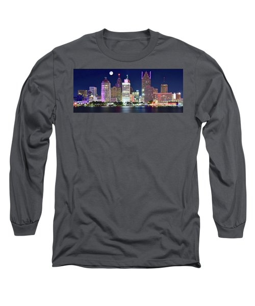Long Sleeve T-Shirt featuring the photograph Motor City Night With Full Moon by Frozen in Time Fine Art Photography